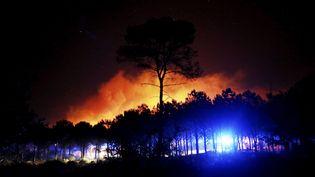 Les phares des camions de pompiers illuminent la forêt du massif des Maures (Var), ravagé par un incendie, le 17 août 2021. (FRANK MULLER / MAXPPP)