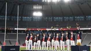 L'équipe de France de rugby à VII a remporté la médaille d'argent lors des Jeux olympiques de Tokyo, le 31 juillet 2021. (GREG BAKER / AFP)