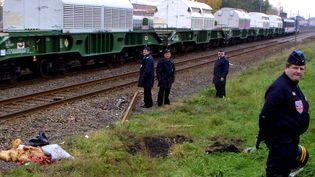 Un train de déchets nucléaires retraités à l'usine Orano de La Hague franchit le passage à niveau de Hoenheim en direction de l'Allemagne le 12 novembre 2001. (FRANCK FIFE / AFP)