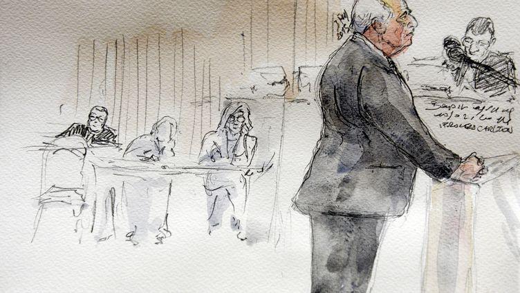 Croquis d'audience montrant DSK à la barre du tribunal correctionnel de Lille, le 11 février 2015. (BENOIT PEYRUCQ / AFP)
