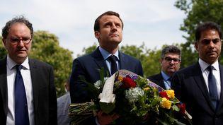 Le candidat d'En marche ! à l'élection présidentielle, Emmanuel Macron, participe à une commémoration du génocide arménien, le 24 avril 2017 à Paris. (CHRISTIAN HARTMANN / REUTERS)
