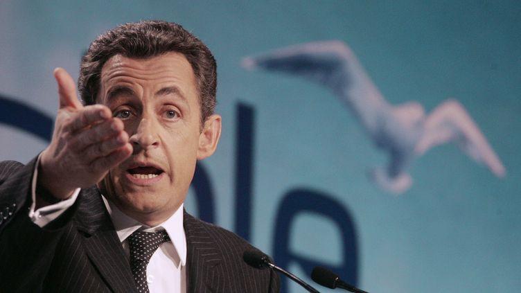 Nicolas Sarkozy en meeting de campagne à Caen (Calvados), le 9 mars 2007. (DOMINIQUE FAGET / AFP)