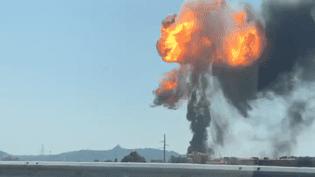 Une énorme explosion s'est produite sur une route près de l'aéroport de Bologne (Italie), le 6 août 2018. (DR)