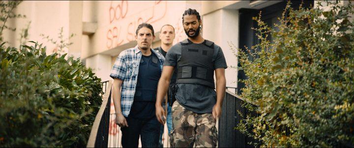 Damien Bonnard, Alexis Manenti, Djebril Didier Zonga dans Les Misérables deLadj Ly (Le Pacte)
