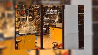 Une vitrine de magasin brisée dans Paris en marge d'une manifestation sauvage, le 14 avril 2016. (PREFECTURE DE POLICE DE PARIS / TWITTER)
