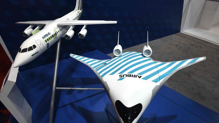 Un modèle réduit de l'aile volante sur laquelle planche Airbus, exposée au salon de l'aéronautique de Singapour, le 11 février 2020. (ROSLAN RAHMAN / AFP)