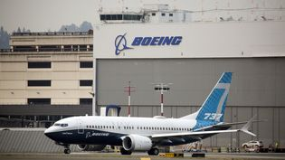 Un Boeing 737 MAX sur le site de Boeing à Seattle (USA). (JASON REDMOND / AFP)