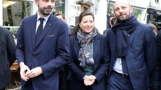 Le Premier ministre, Edouard Philippe, la candidate LREM à la mairie de Paris, Agnès Buzyn et le député de Paris Stanislas Guerini, le 10 mars 2020 à Paris. (MAXPPP)