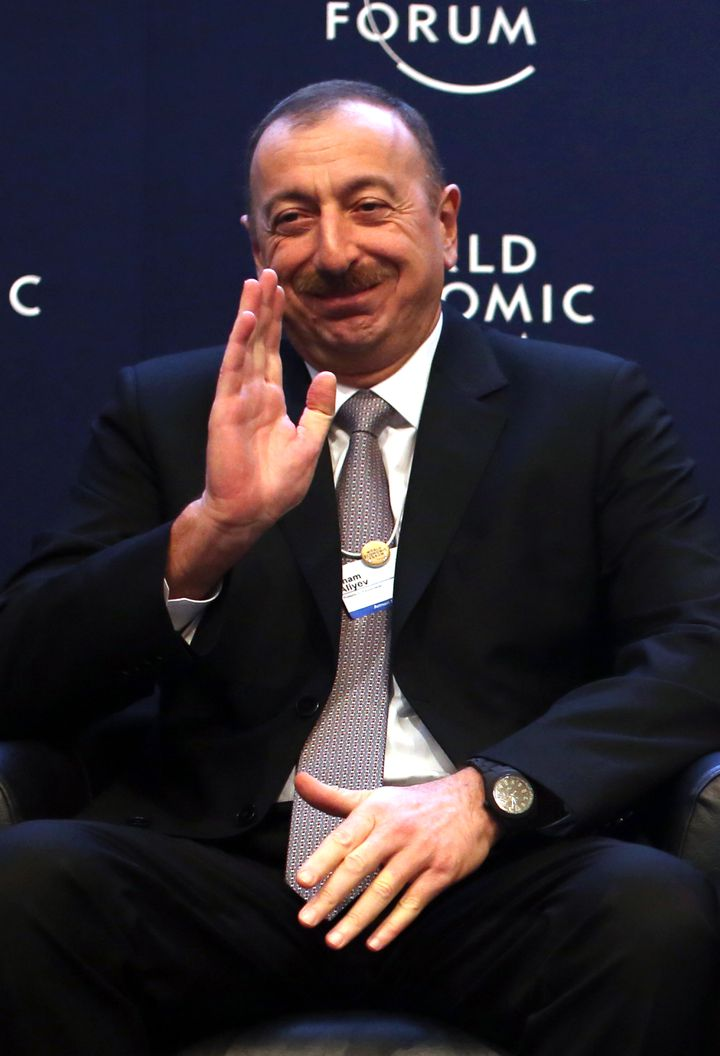 Le président azerbaïdjanais, Ilham Aliev, lors du forum économique mondial de Davos (Suisse), le 23 janvier 2014. (BLOOMBERG / GETTY IMAGES)