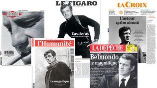 Des unes de la presse française au lendemain de la mort de Jean-Paul Belmondo. (FRANCEINFO)