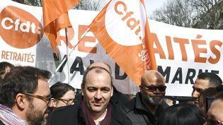 Laurent Berger, N°1 de la CFDT lors d'une manifestation pour la défense des salariés d'Ehpad, le 15 mars 2018. (ALAIN JOCARD / AFP)