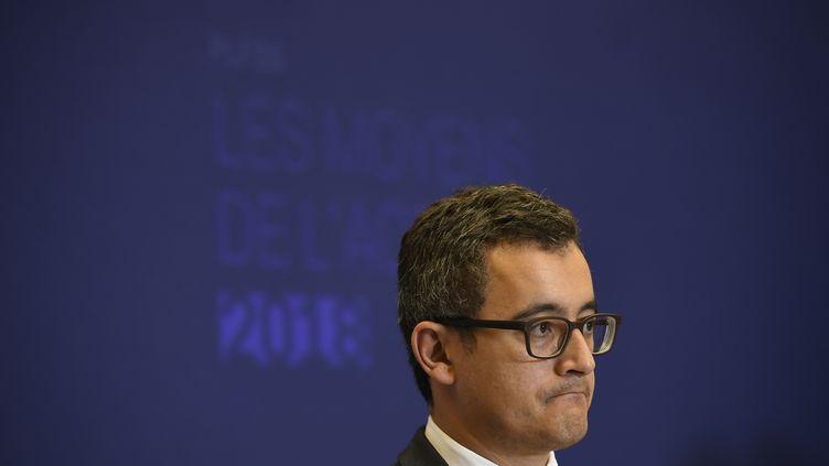Le ministre de l'Action et des Comptes publics, Gérald Darmanin, lors d'une conférence de presse à Paris, le 28 septembre 2017. (LIONEL BONAVENTURE / AFP)