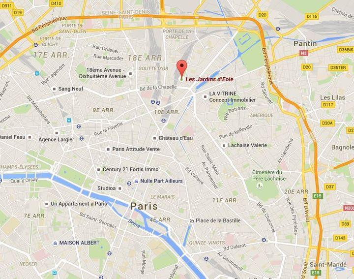 Capture écran Google Maps des Jardins d'Eole, situé dans les 18e et 19e arrondissements de Paris. (GOOGLE MAPS)