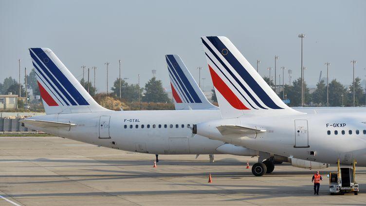 Des avions d'Air France sur le tarmac de l'aéroport Paris-Charles-de-Gaulle, le 15 septembre 2014, au deuxième jour de la grève des pilotes de la compagnie. (MUSTAFA YALCIN / ANADOLU AGENCY / AFP)