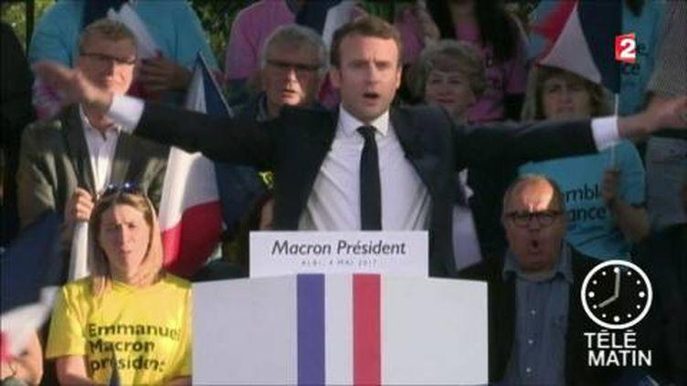 Emmanuel Macron était en meeting à Albi. (FRANCE 2)