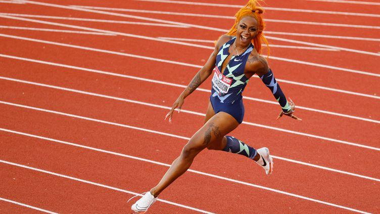 Sha'Carri Richardson avait remporté le 100m individuel lors dessélections américaines, le 19 juin 2021. (CLIFF HAWKINS /  Getty Images via AFP)