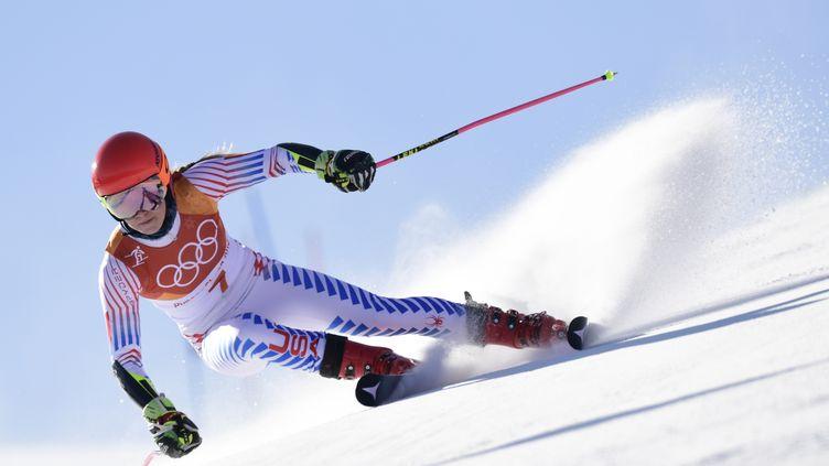 Mikaela Shiffrin sur le slalom géant (JAVIER SORIANO / AFP)
