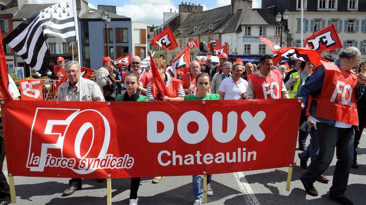 Entre 700 personnes, selon la police, et 800 selon la CFDT, ont manifesté samedi 23 juin 2012 à Châteaulin (Finistère) pour exprimer leur inquiétude face aux menaces qui pèsent sur le groupe volailler Doux. (FRED TANNEAU / AFP)