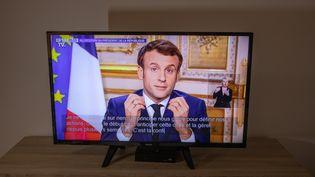 Emmanuel Macron s'exprime depuis l'Elysée sur la propagation du coronavirus, le 12 mars 2020. (BENJAMIN POLGE / HANS LUCAS / AFP)