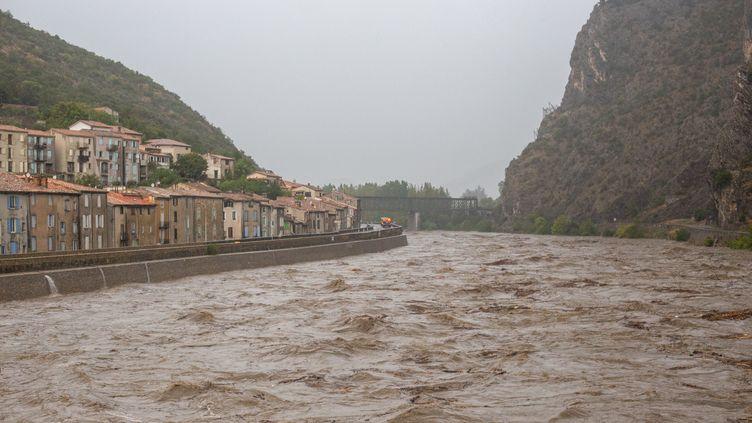 L'Anduze est en crue dans le Gard, le 19 septembre 2020. (BENJAMIN POLGE / HANS LUCAS / AFP)