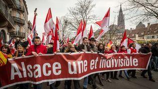 Des Alsaciens manifestent contre la réforme territoriale à Strasbourg (Bas-Rhin), le 14 mars 2015. (CLAUDE TRUONG-NGOC / CITIZENSIDE / AFP)