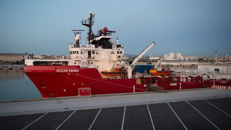 """L'""""Ocean Viking"""" dans le port de Marseille, le 4 août 2019. (CLEMENT MAHOUDEAU / AFP)"""