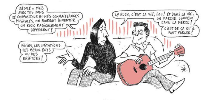 """Dialogue entre John Cale et Lou Reed dans la BD """"Une histoire du Velvet Underground"""" de Prosperi Buri. (DARGAUD)"""