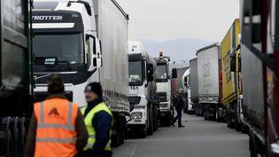 Des camions bloquent le péage de Saint-Avold (Moselle) lors d'une précédente journée d'action, le 28 janvier 2015. (MAXPPP)
