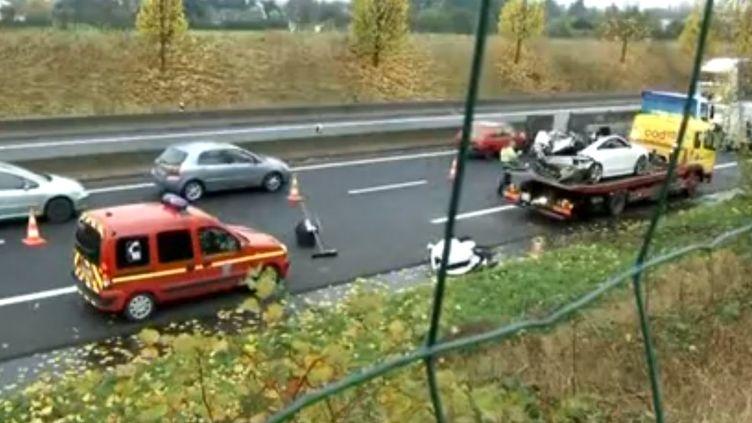 L'accident s'est produit sur la N104 au niveau du nœud routier de la Croix-Verte (Val-d'Oise), le 21 novembre 2013. (FRANCE 3 IDF)