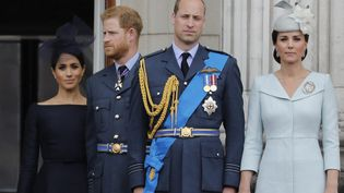 Meghan Markle, les prince Harry et William et Kate Middleton, le 10 juillet 2018 à Londres (Royaume-Uni). (TOLGA AKMEN / AFP)