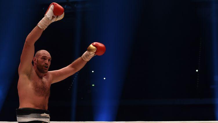 Le boxeur Tyson Fury célèbre un titre de champion du monde, à Düsseldorf (Allemagne), le 29 novembre 2015. (PATRIK STOLLARZ / AFP)