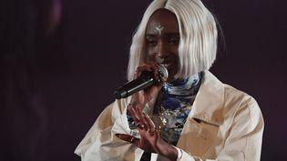 La chanteuse Marie-Pierra Kakoma, du groupe Lous and the yakusa, sur la scène des Transmusicales de Rennes, le 5 décembre 2019 (DAMIEN MEYER / AFP)