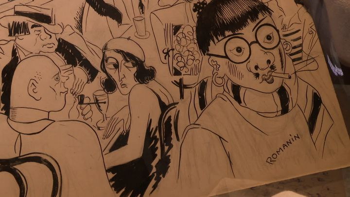 Caricature signée de Romanin du peintre Foujita dans un dessin consacré à Montparnasse dans les années 30 (France 3 Occitanie)