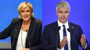 Marine Le Pen le 11 mars 2018 à Lille (g.) et Laurent Wauquiez le 18 avril 2018 à Paris (d.). Montage photo. (PHILIPPE HUGUEN / ERIC FEFERBERG / AFP)