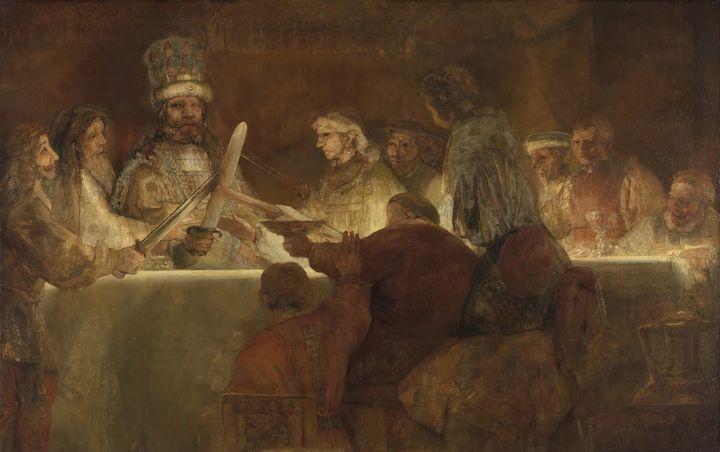 «La conspiration de Claudius Civilis» de Rembrandt (1661-1662)  (The Royal Academy of Fine Arts, Sweden)