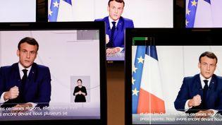 L'allocution du président de la République Emmanuel Macron mardi 24 novembre 2020 à Paris. (THOMAS COEX / AFP)
