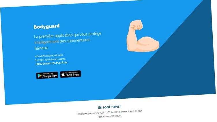 La page d'accueil du site internet de Bodyguard, application dédiée à la lutte contre le cyberharcèlement. (BODYGUARD)