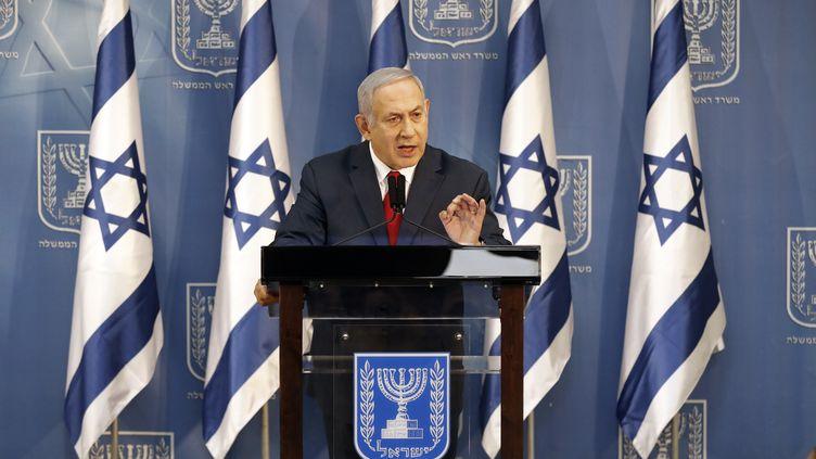 Le Premier ministre israélien, Benyamin Nétanyahou, lors d'une allocution télévisée, à Tel Aviv (Israël), le 18 novembre 2018. (JACK GUEZ / AFP)