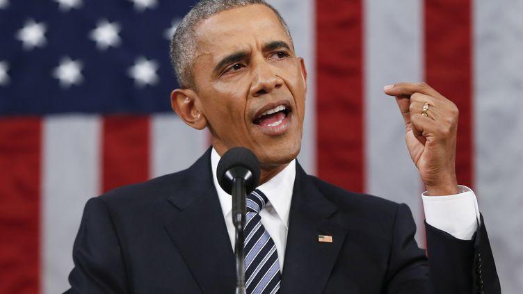 Barack Obama prononce son dernier discours sur l'état de l'Union, le 12 janvier 2016 à Washington. (EVAN VUCCI / AP POOL / AFP)