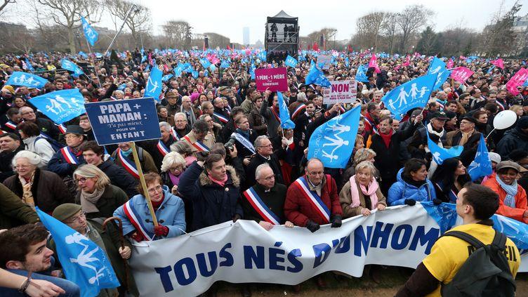 Marée humaine sur le Champ-de-Mars, lors dela manifestation contre le mariage des homos, le 13 janvier 2013 à Paris. (THOMAS SAMSON / AFP)