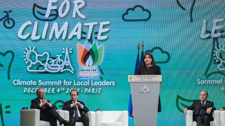 (Discours de la maire de Paris, Anne Hidalgo, lors du Sommet des Elus locaux pour le Climat © MaxPPP)
