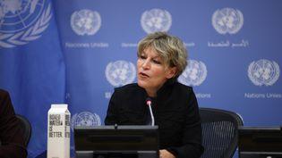 Agnès Callamard rapporteuse spéciale de l'ONU pour les exécutions arbitraires, sommaires ou extra-judiciaires, lors d'une conférence de presse à New York. Le 25 octobre 2019. (TAYFUN COSKUN / ANADOLU AGENCY)