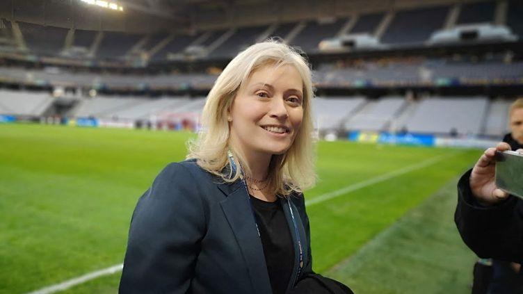 Nathalie Boy de la Tour, présidente de la Ligue de football professionnel, au stade Pierre-Mauroy de Villeneuve d'Ascq (Nord), le 29 mars 2019. (THOMAS LAVAUD / RADIO FRANCE)