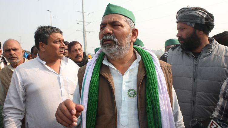Rakesh Tikait, syndicaliste de laBharatiya Kisan Union, près de New Delhi (Inde) le 28 janvier 2021 (HARISH TYAGI / EPA)