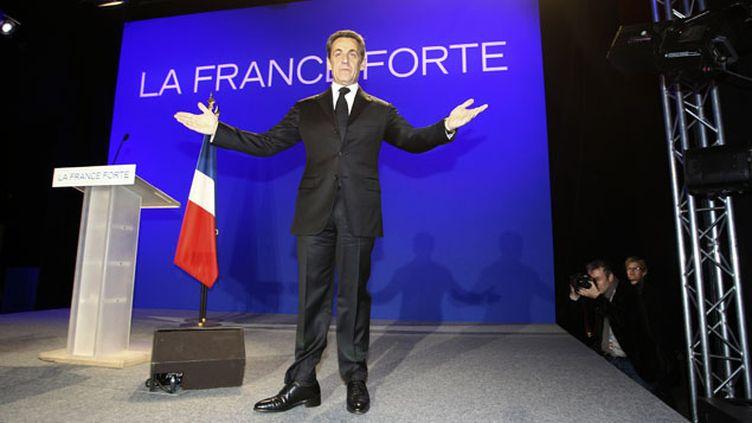 (Nicolas Sarkozy pendant un meeting politique à Morlaix en avril 2012. © REUTERS/David Vincent)