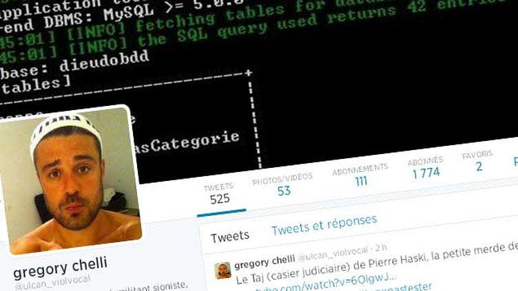 """(Le profil Twitter du """"militant sioniste"""" Grégory Chelli, alias """"Ulcan"""" © DR)"""
