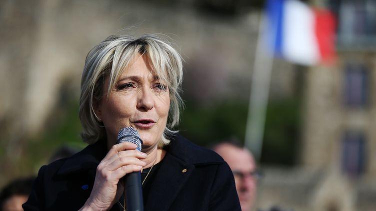 Marine Le Pen a lancé un appel solennel lundi 27 février au mont Saint Michel. (CHARLY TRIBALLEAU / AFP)