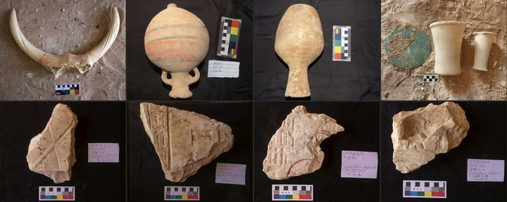 Objets trouvés dans des tombeaux de la province de Sohag, dans le sud de l'Egypte, datant de 4 200 ans (11 mai 2021) (- / EGYPTIAN MINISTRY OF ANTIQUITIES)