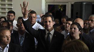 Le leader de l'opposition, Juan Guaido, à Caracas, le 28 mars 2019. (FEDERICO PARRA / AFP)