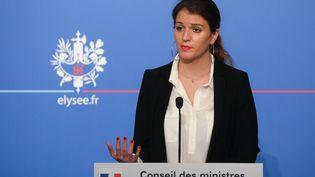 Marlène Schiappa, secrétaire d'État chargée de l'Égalité entre les femmes et les hommes, le 21 mars 2018, lors d'une conférence de presse à l'Elysée. (LUDOVIC MARIN / AFP)